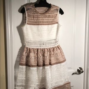 Alexis Melania cream and white lace dress
